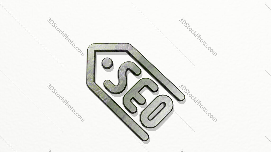 seo label 3D icon on the wall