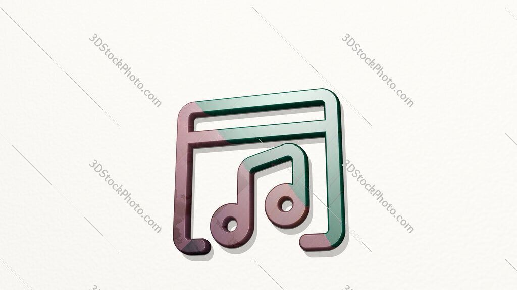 app window music 3D icon on the wall