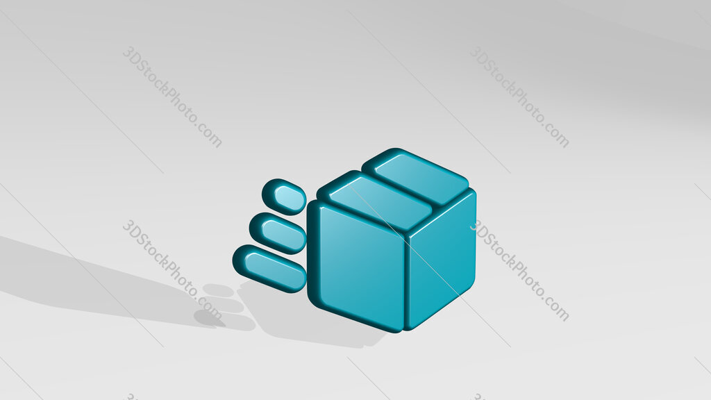 shipment in transit 3D icon casting shadow