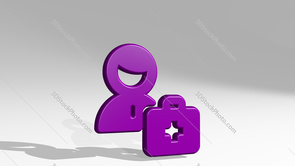 medical personnel 3D icon casting shadow