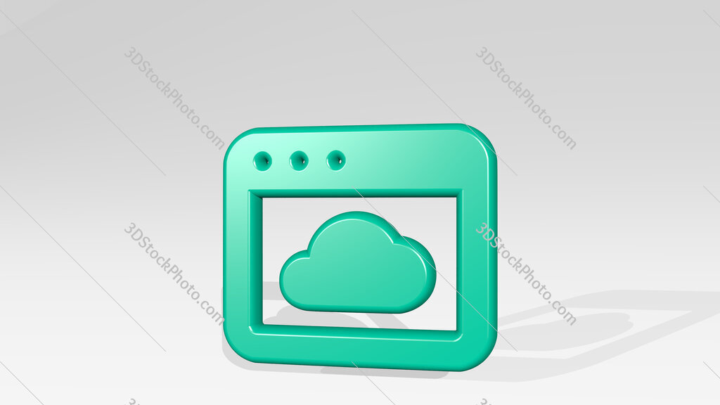 app window cloud 3D icon casting shadow
