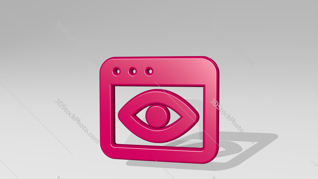app window eye 3D icon casting shadow