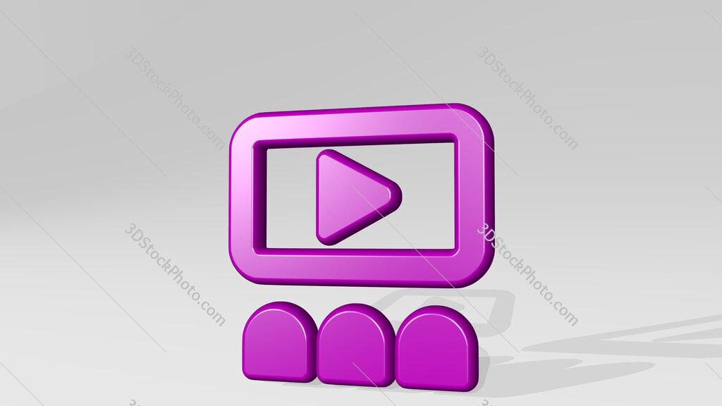 movie cinema watch 3D icon casting shadow