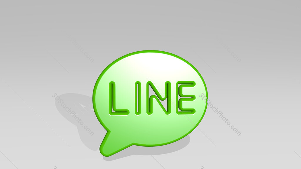 messaging line app 3D icon casting shadow