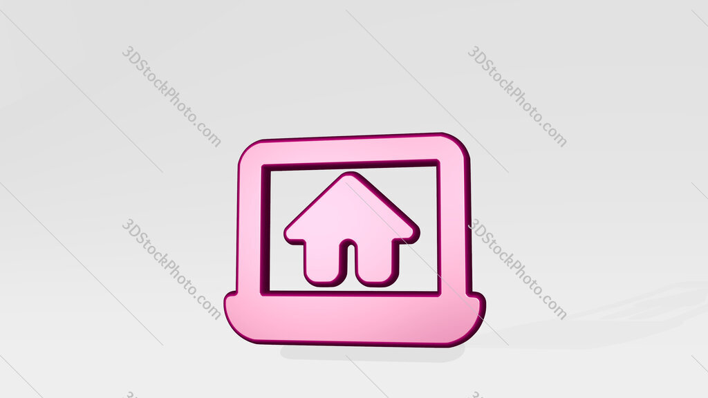 real estate app house laptop 3D icon casting shadow