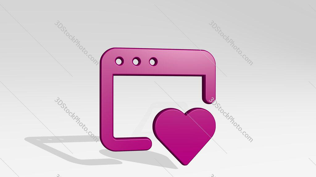 app window heart 3D icon casting shadow