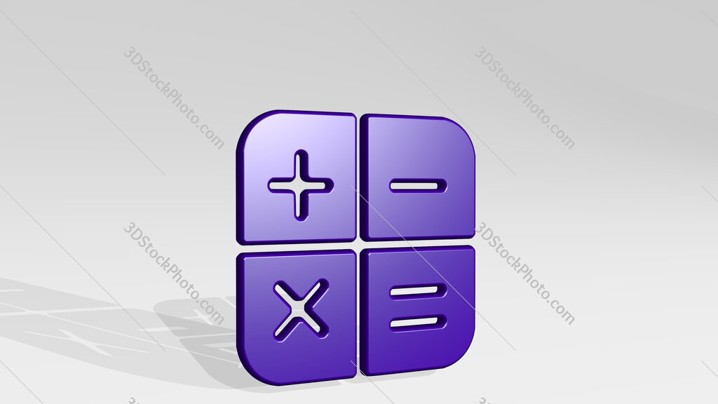 calculator app 3D icon casting shadow