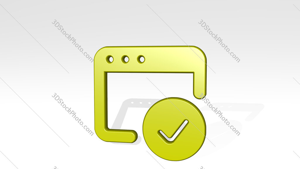 app window check 3D icon casting shadow