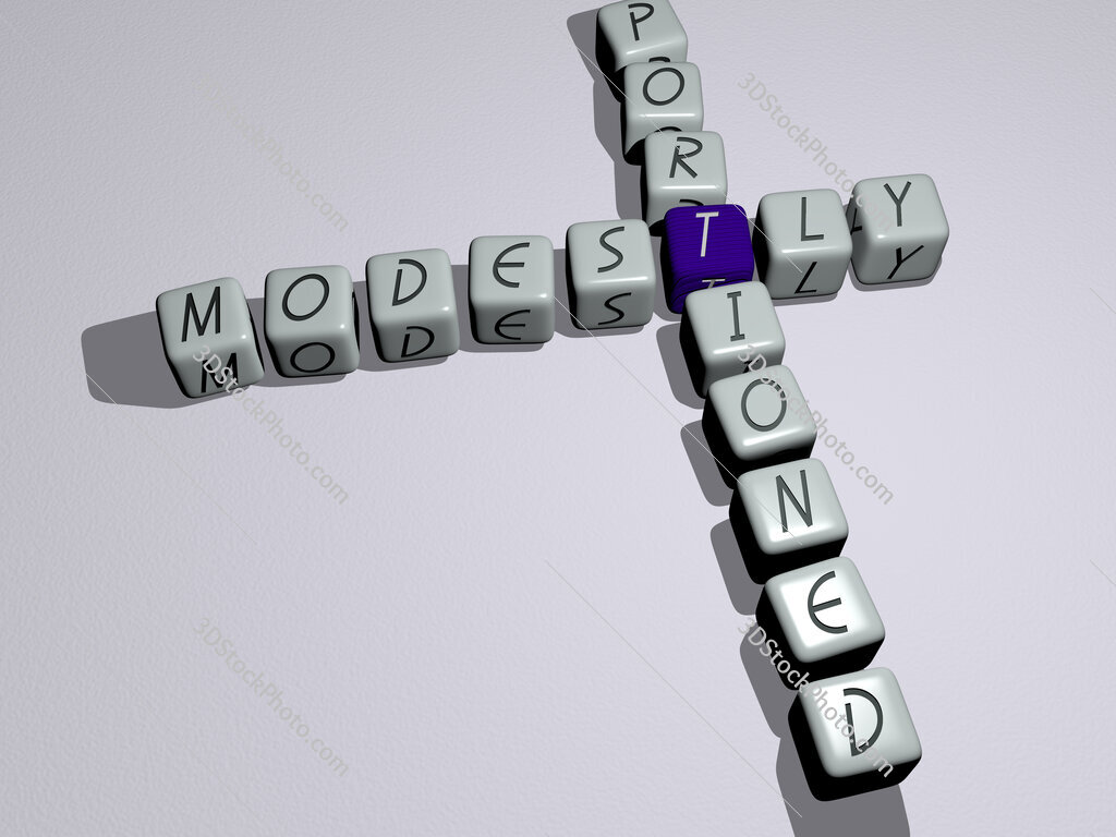 modestly portioned crossword by cubic dice letters