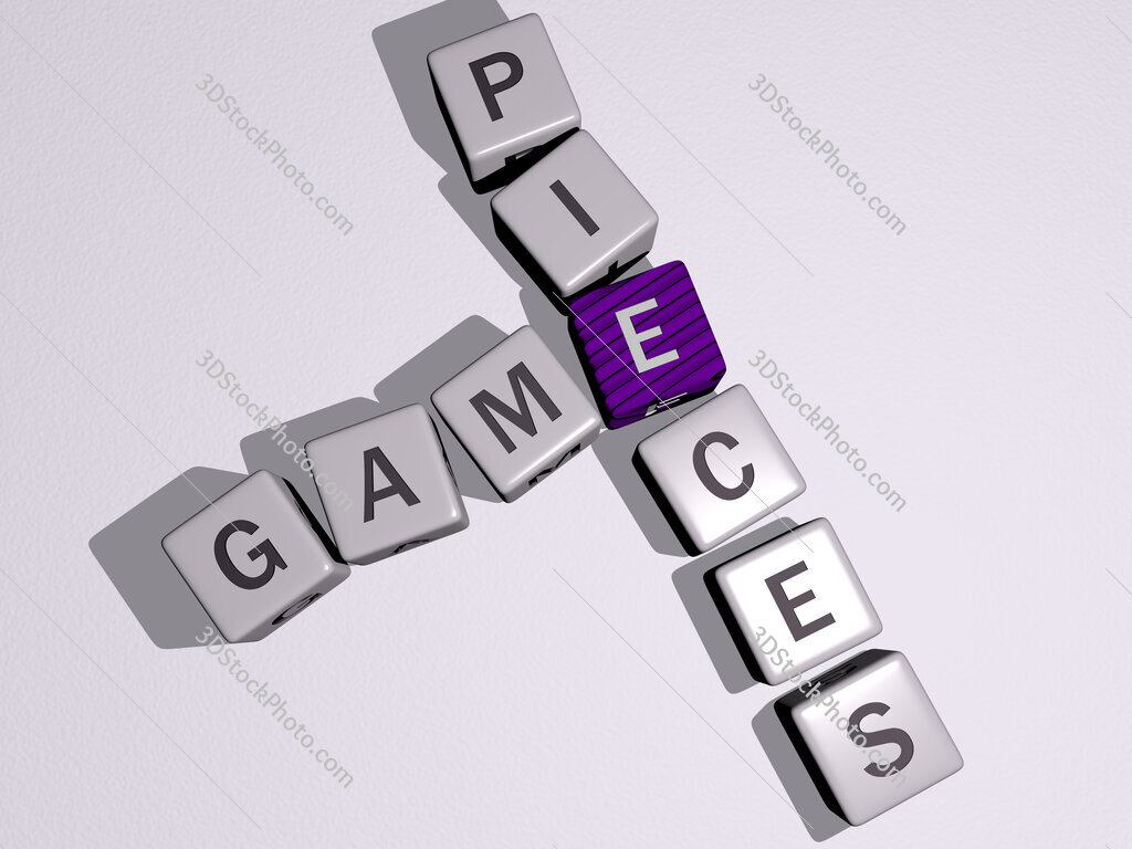 game pieces crossword by cubic dice letters
