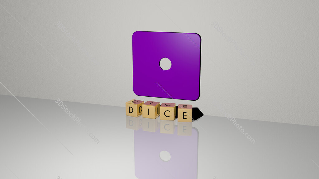 dice text of cubic dice letters on the floor and 3D icon on the wall
