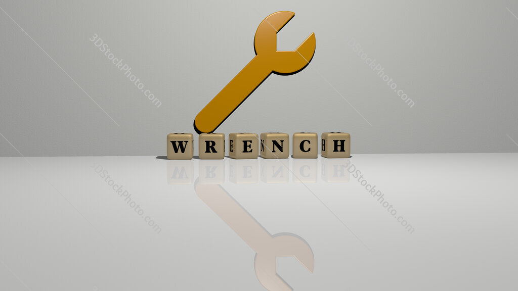 wrench text of cubic dice letters on the floor and 3D icon on the wall