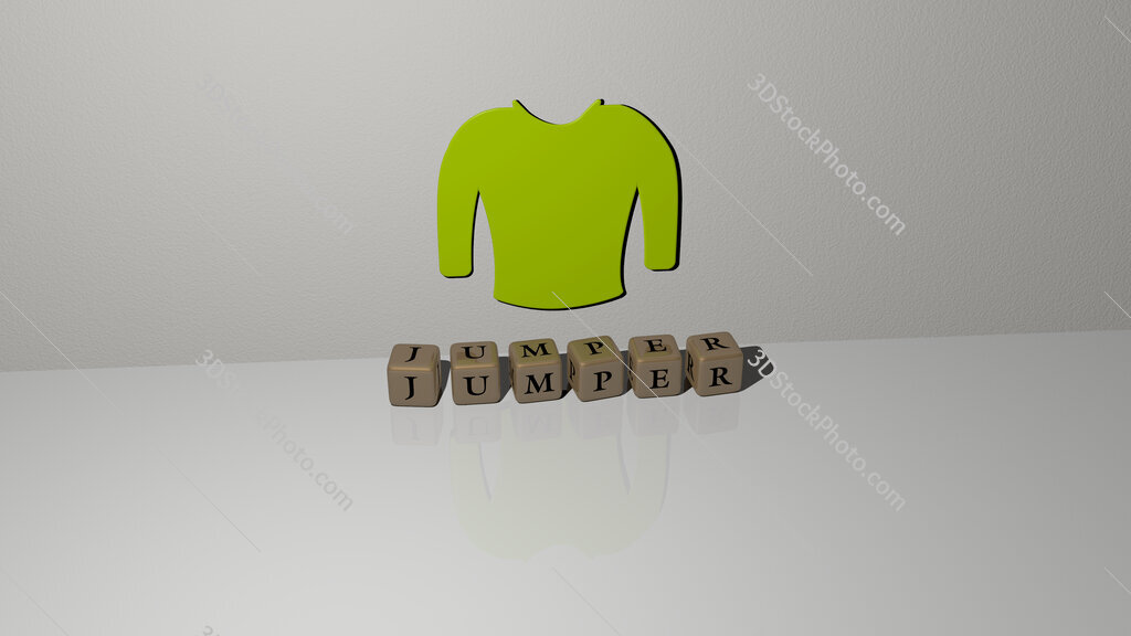 jumper text of cubic dice letters on the floor and 3D icon on the wall