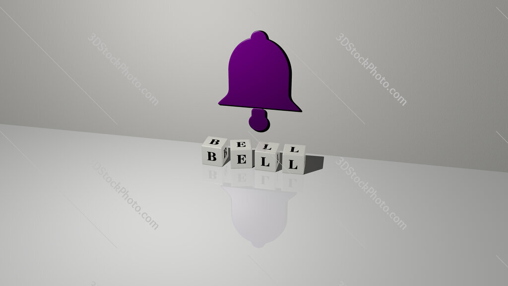 bell text of cubic dice letters on the floor and 3D icon on the wall