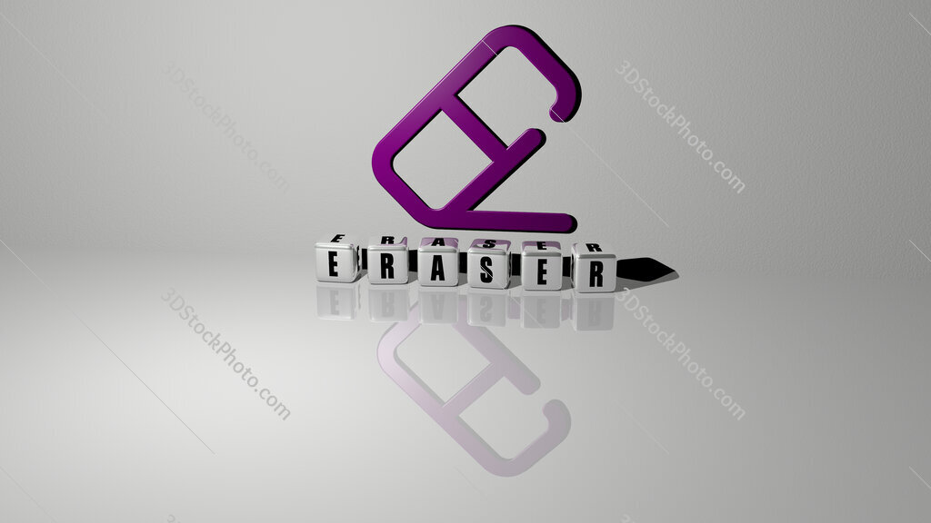 eraser text of cubic dice letters on the floor and 3D icon on the wall