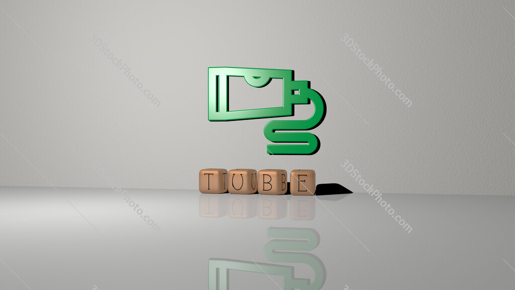 tube text of cubic dice letters on the floor and 3D icon on the wall