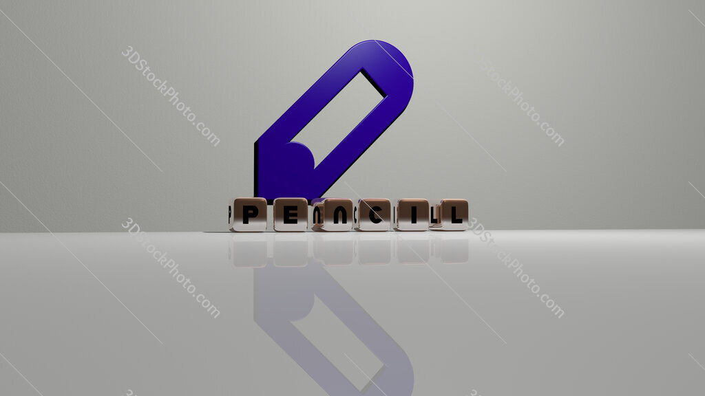 pencil text of cubic dice letters on the floor and 3D icon on the wall