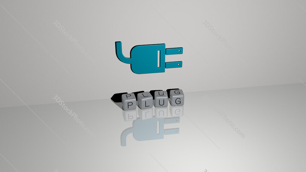 plug text of cubic dice letters on the floor and 3D icon on the wall