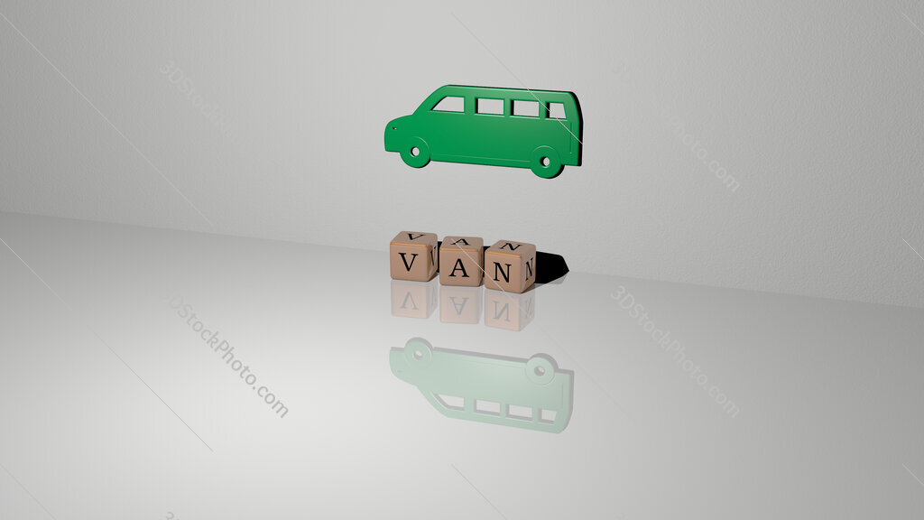 van text of cubic dice letters on the floor and 3D icon on the wall