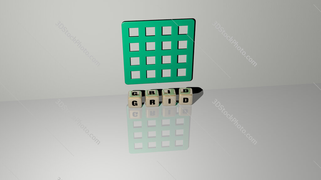 grid text of cubic dice letters on the floor and 3D icon on the wall