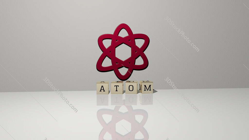 atom text of cubic dice letters on the floor and 3D icon on the wall