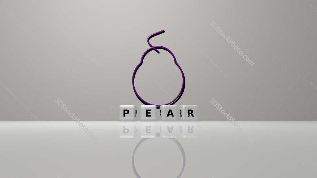Pear text of cubic dice letters on the floor and 3D icon on the wall