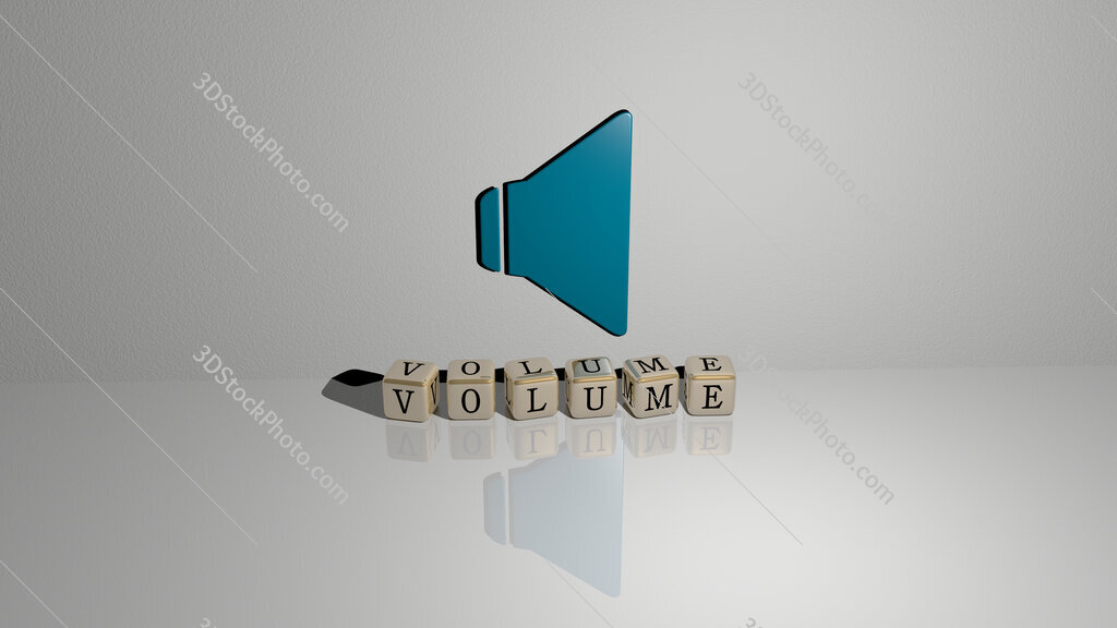 volume text of cubic dice letters on the floor and 3D icon on the wall