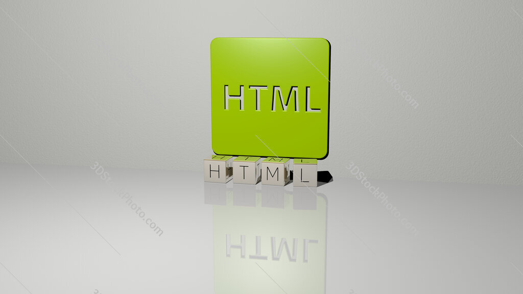 html text of cubic dice letters on the floor and 3D icon on the wall
