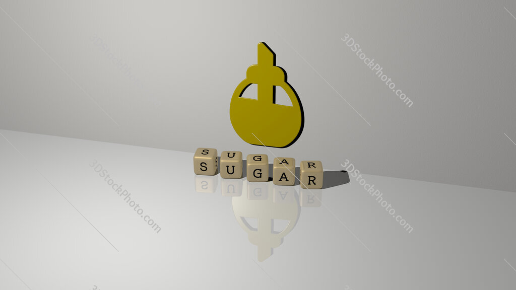 sugar text of cubic dice letters on the floor and 3D icon on the wall