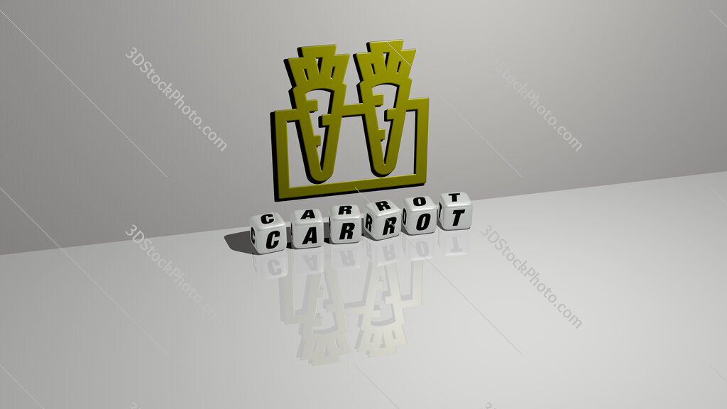 carrot text of cubic dice letters on the floor and 3D icon on the wall