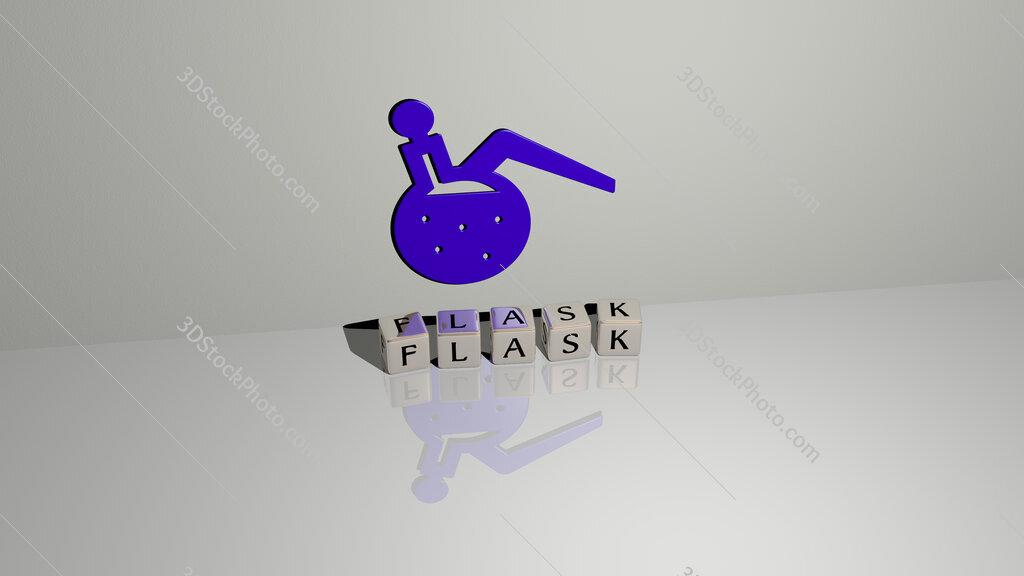 FLASK text of cubic dice letters on the floor and 3D icon on the wall