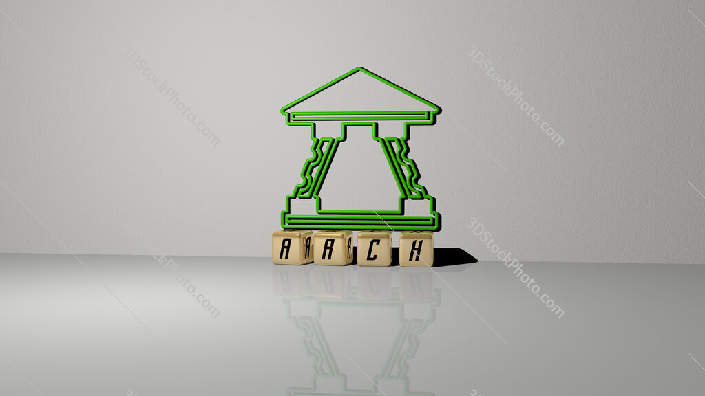 arch text of cubic dice letters on the floor and 3D icon on the wall