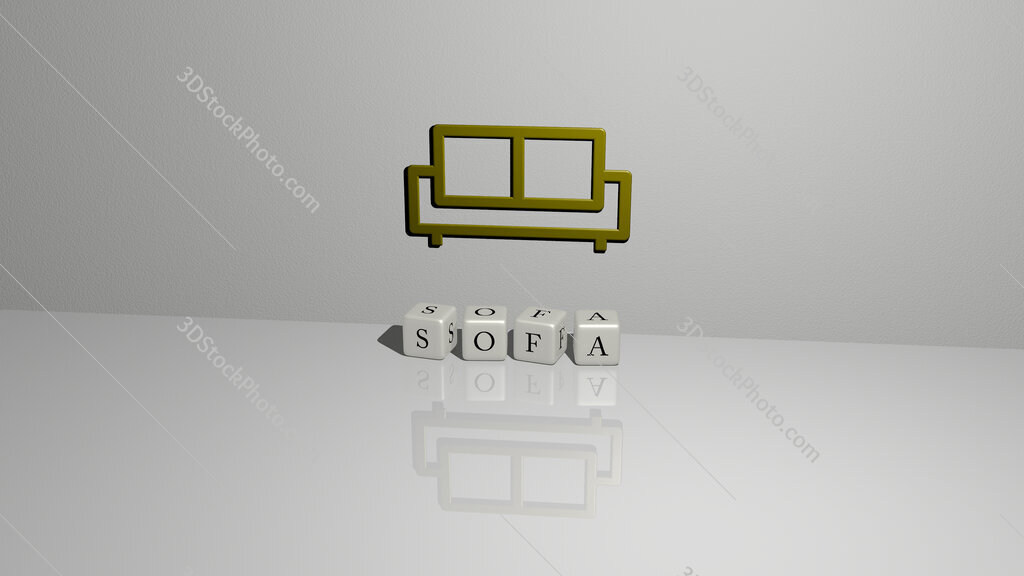 sofa text of cubic dice letters on the floor and 3D icon on the wall