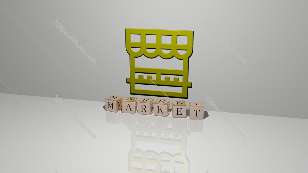 market text of cubic dice letters on the floor and 3D icon on the wall