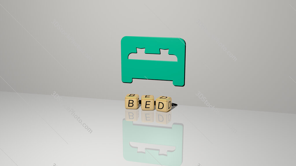 bed text of cubic dice letters on the floor and 3D icon on the wall