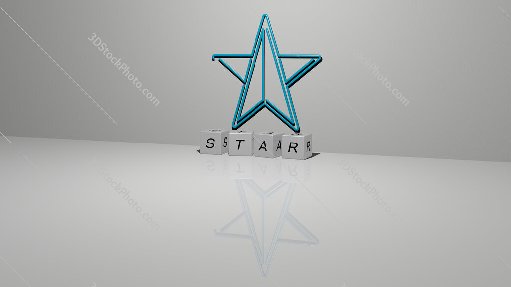 star text of cubic dice letters on the floor and 3D icon on the wall