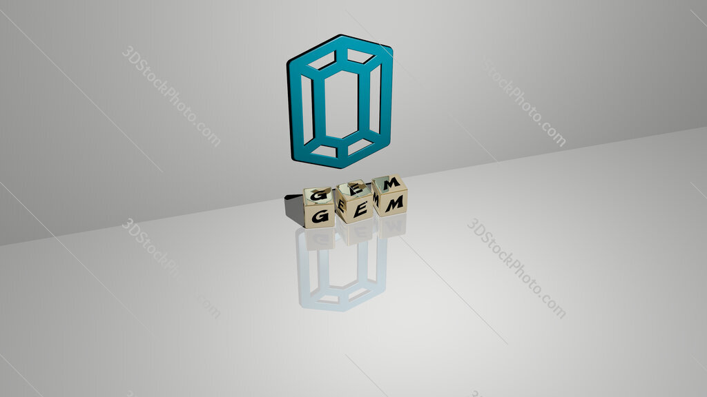Gem text of cubic dice letters on the floor and 3D icon on the wall