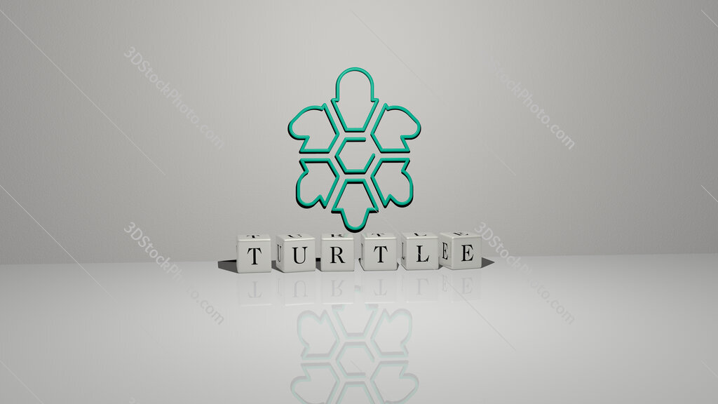 turtle text of cubic dice letters on the floor and 3D icon on the wall