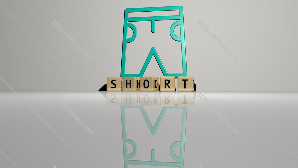 short text of cubic dice letters on the floor and 3D icon on the wall