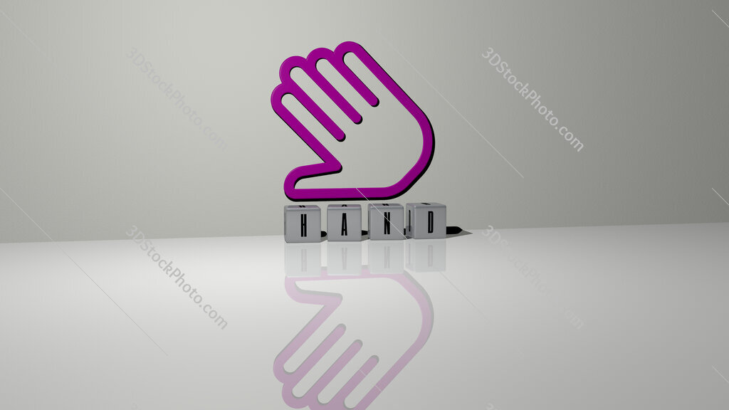 hand text of cubic dice letters on the floor and 3D icon on the wall