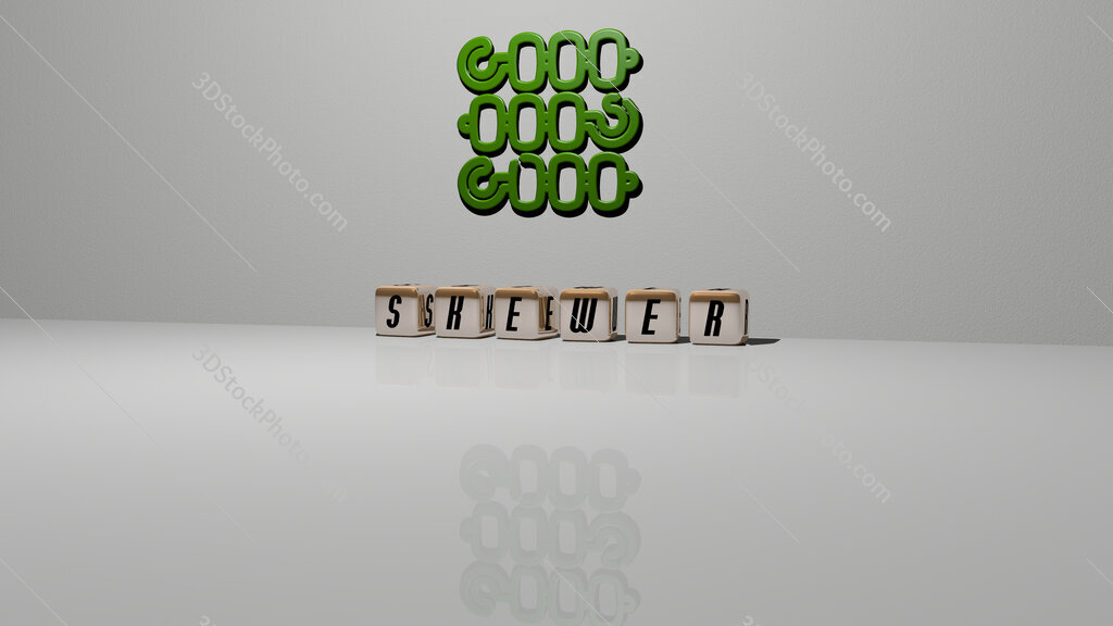 skewer text of cubic dice letters on the floor and 3D icon on the wall