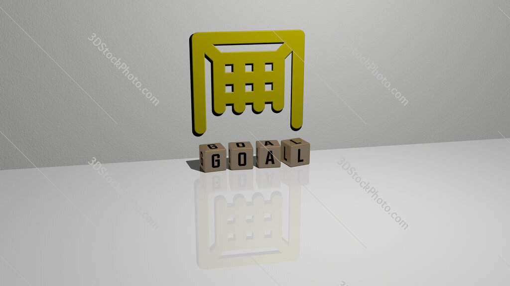 goal text of cubic dice letters on the floor and 3D icon on the wall