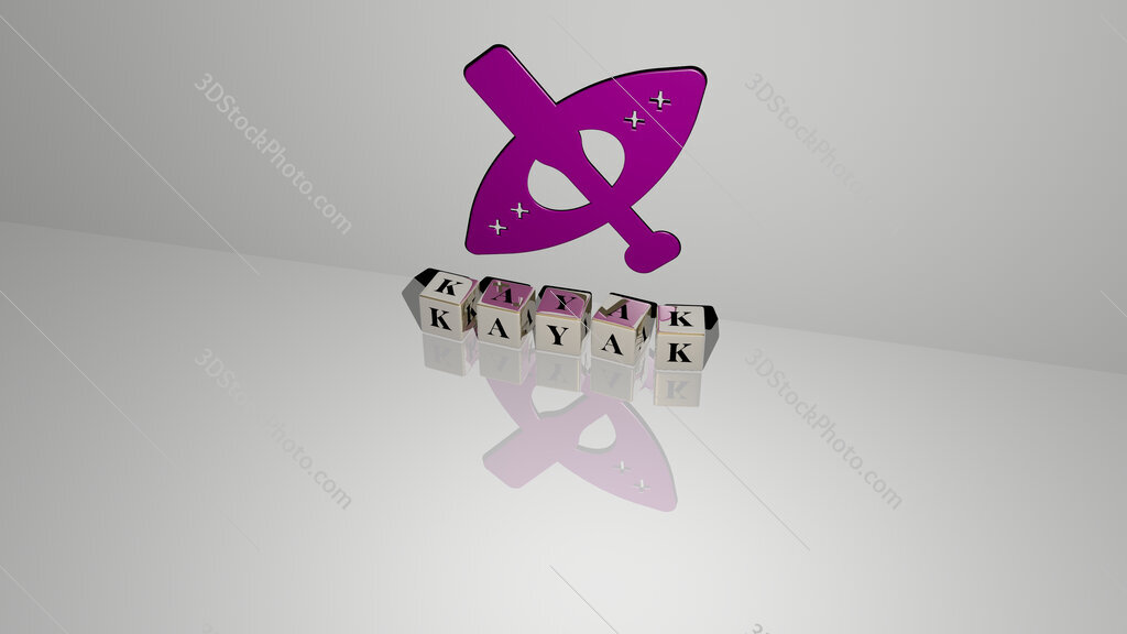 kayak text of cubic dice letters on the floor and 3D icon on the wall