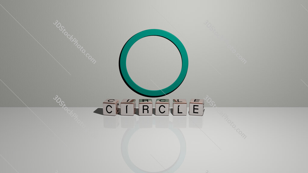 circle text of cubic dice letters on the floor and 3D icon on the wall