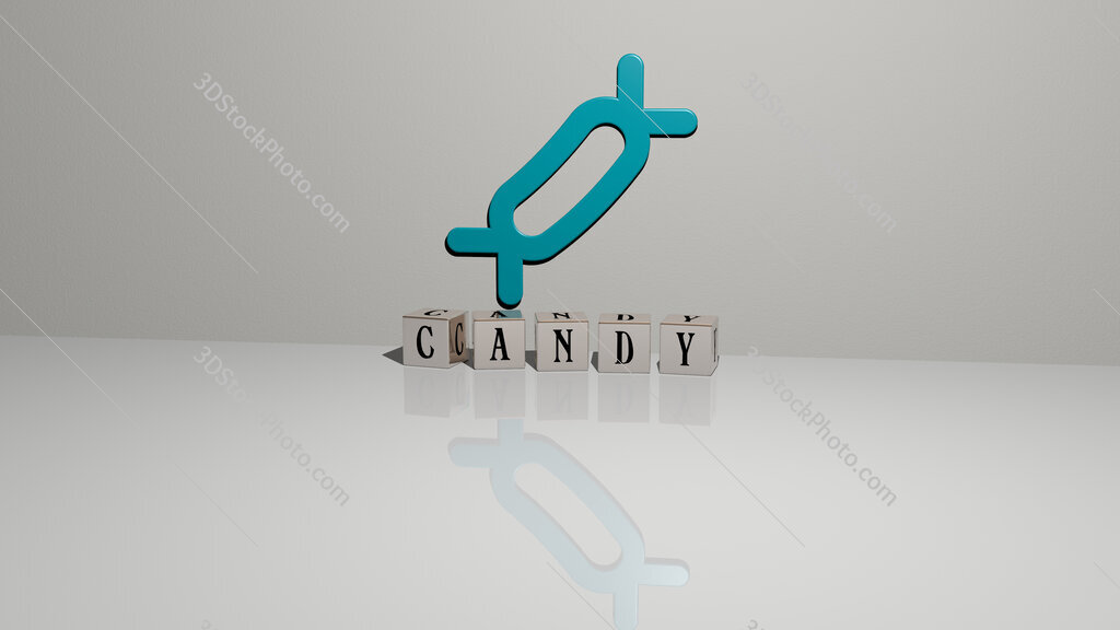 candy text of cubic dice letters on the floor and 3D icon on the wall