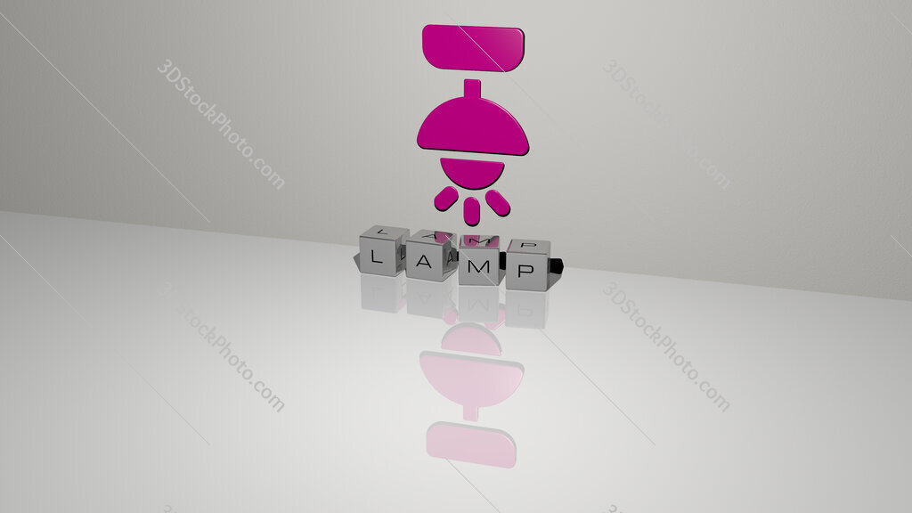 lamp text of cubic dice letters on the floor and 3D icon on the wall