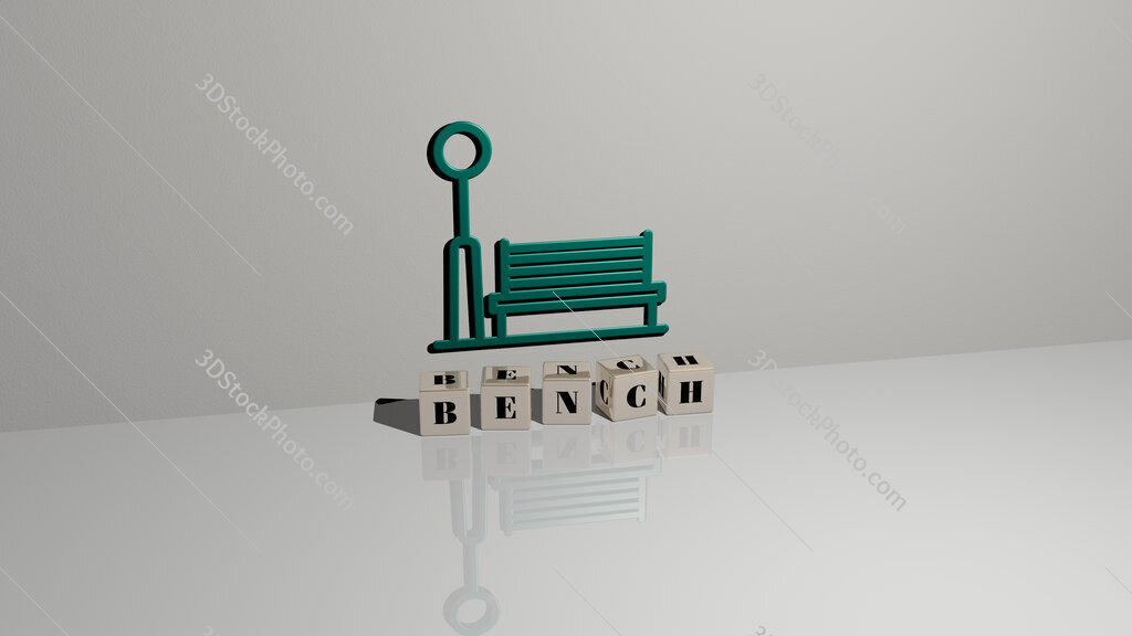 bench text of cubic dice letters on the floor and 3D icon on the wall