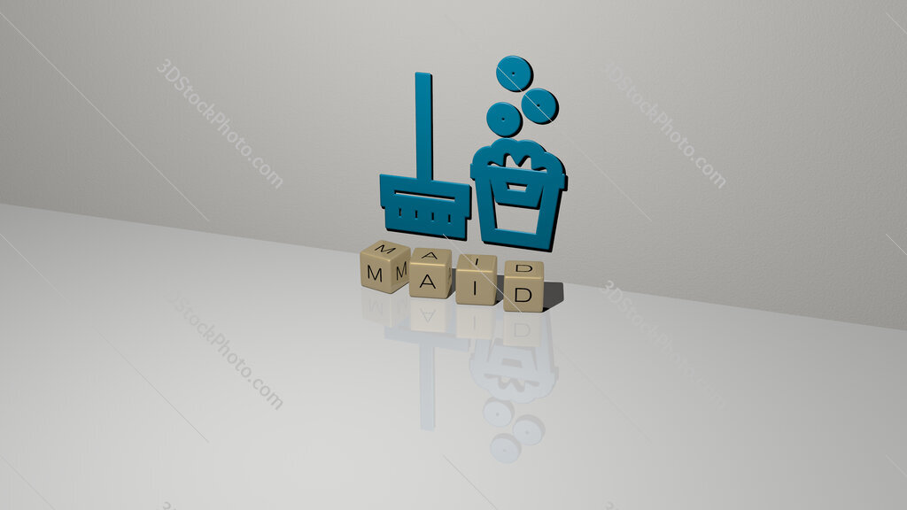 maid text of cubic dice letters on the floor and 3D icon on the wall