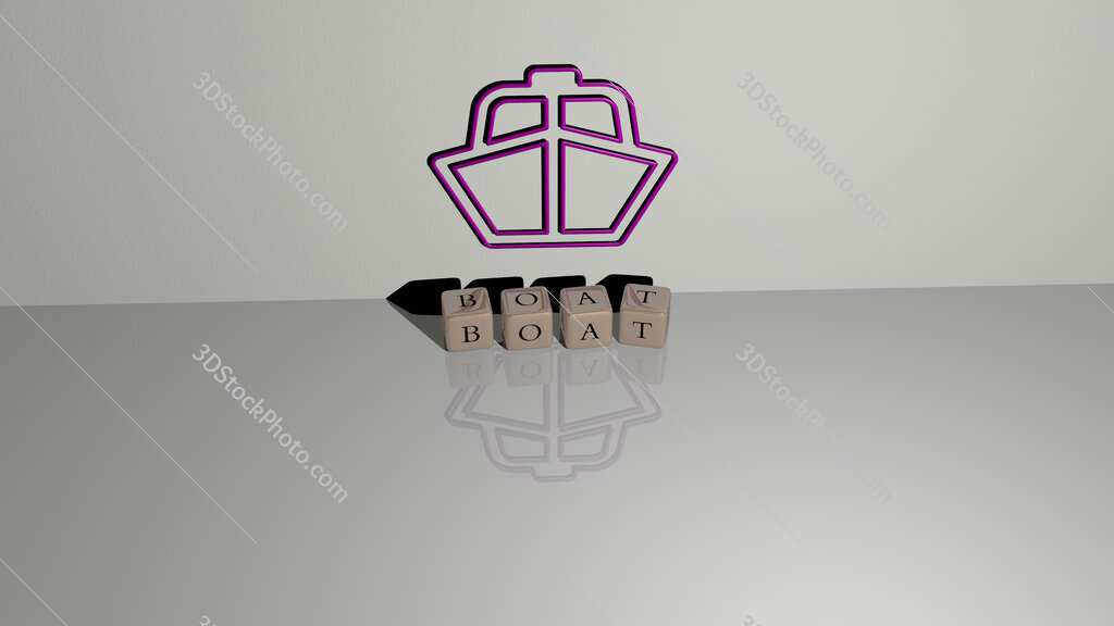 boat text of cubic dice letters on the floor and 3D icon on the wall