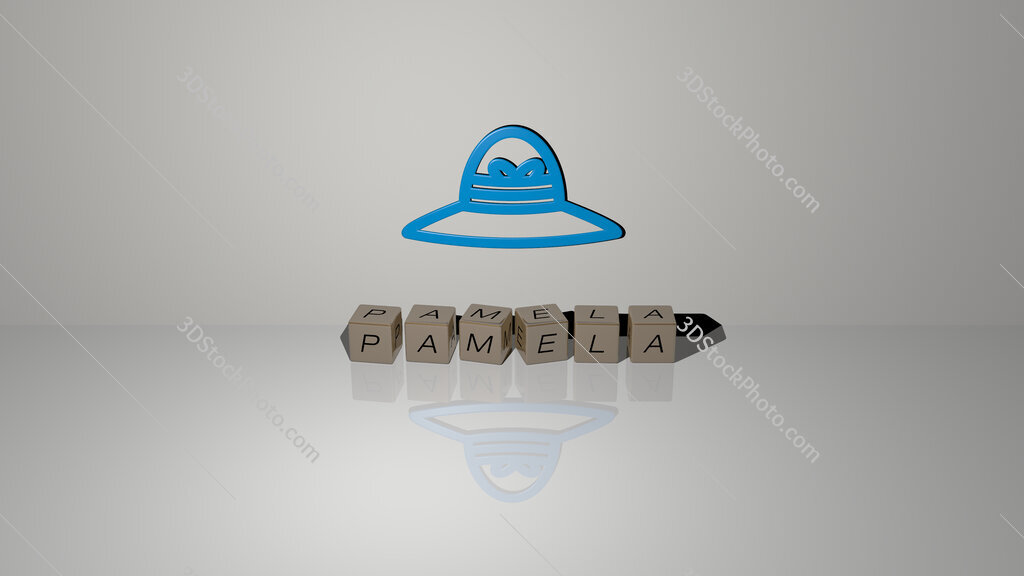 pamela text of cubic dice letters on the floor and 3D icon on the wall